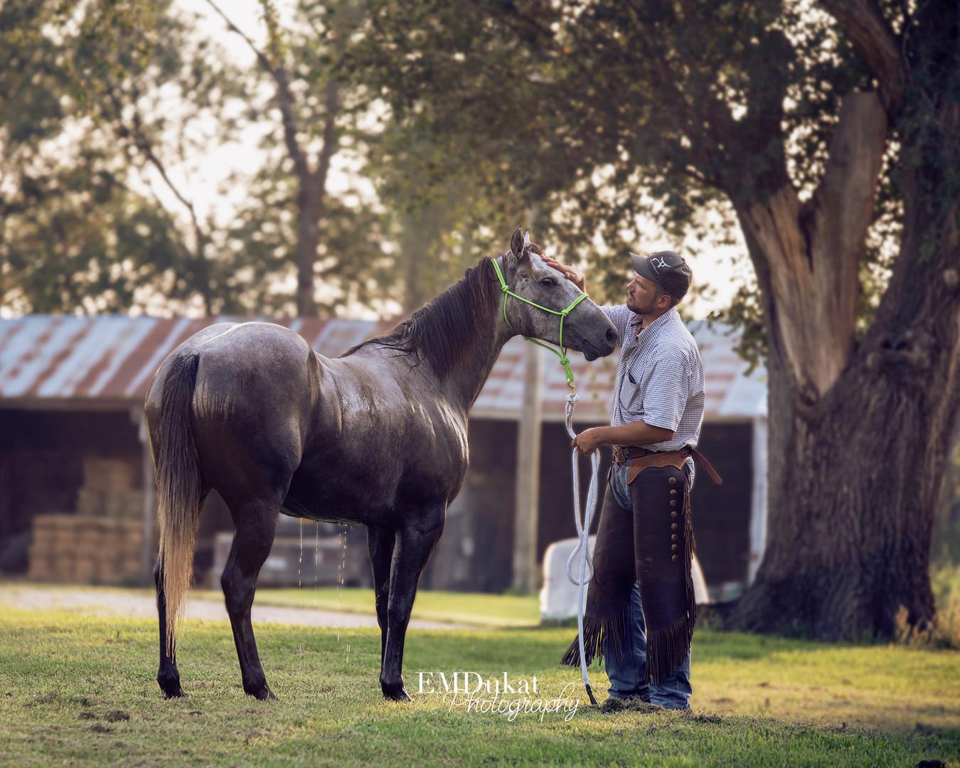 guy-washing-horse-gelding-nebraska-city-equine-photographer