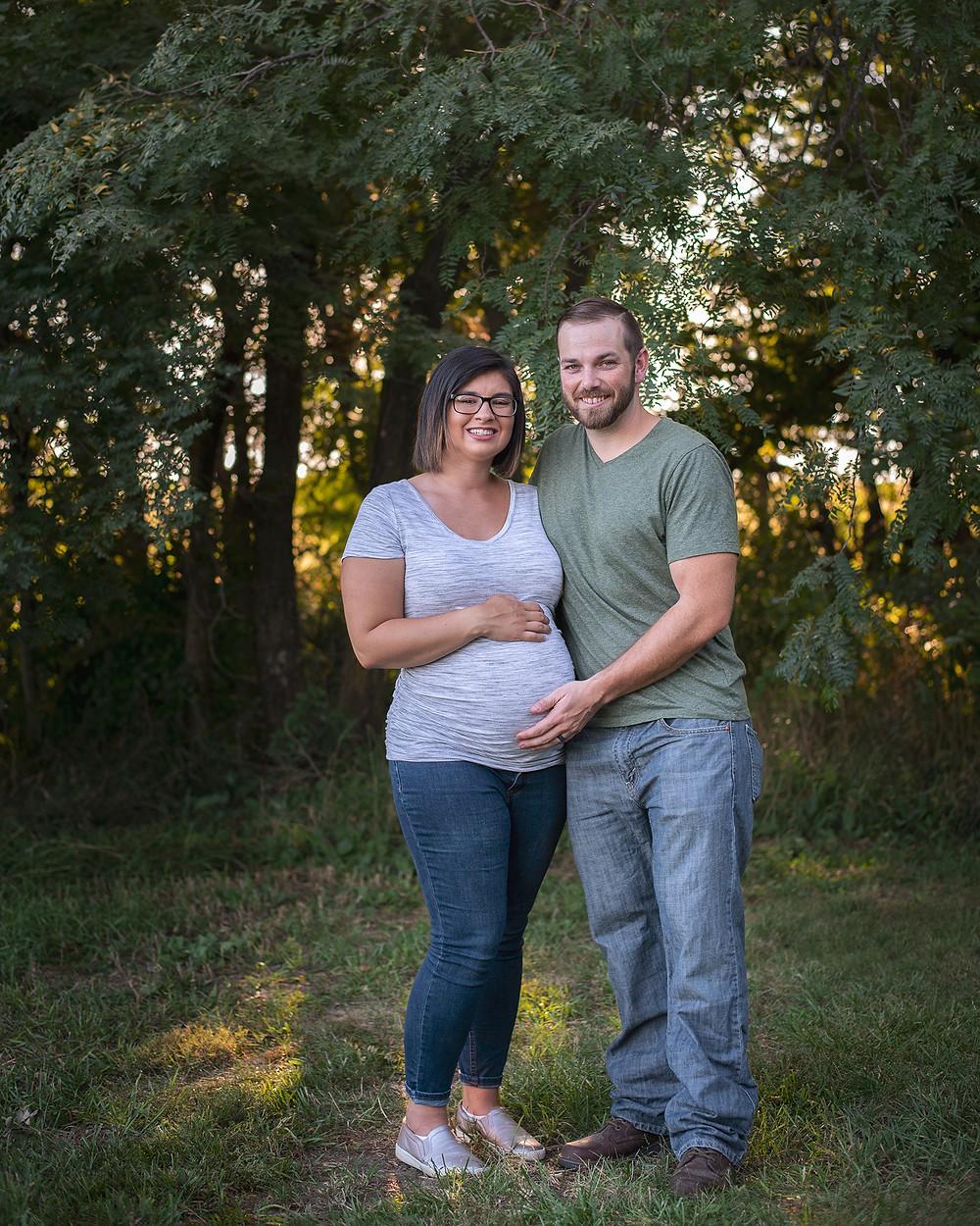 maternity session at sunset in Gretna, NE