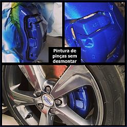Antes e depois de pintura de uma pinça de roda sem desmontar
