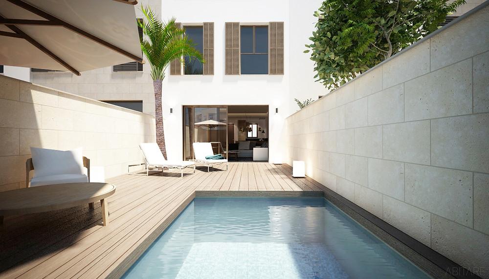 Blick auf Patio und Haus