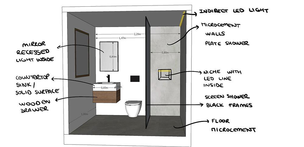 Sketch of bathroom in the 1st Floor