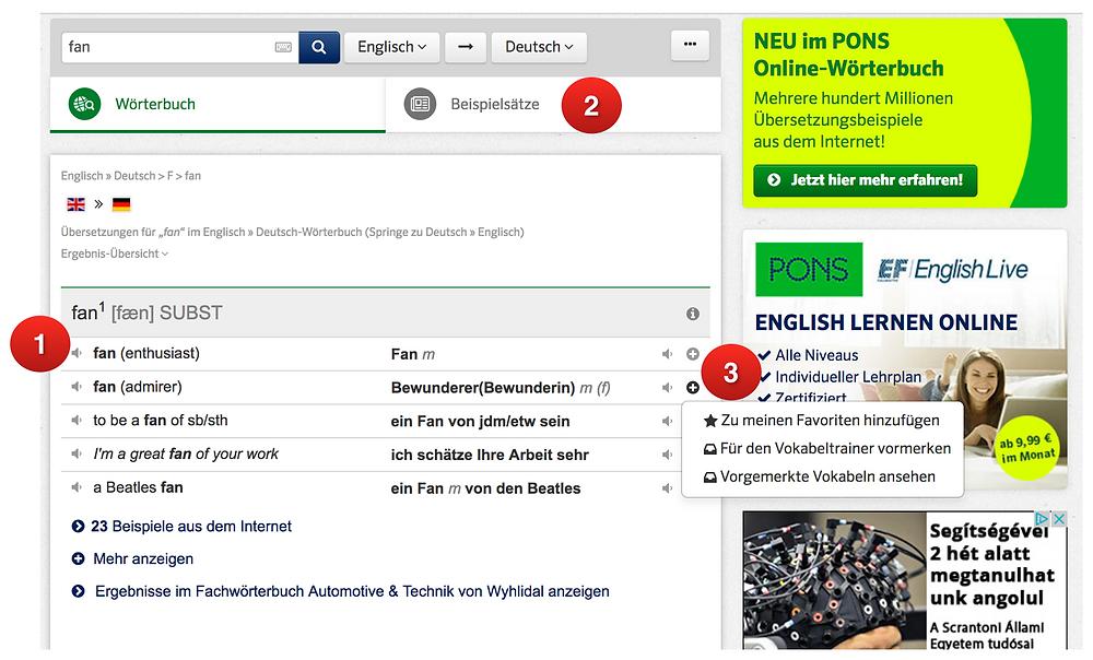 Vorschau Pons-Vokabeltrainer und Online-Wörterbuch