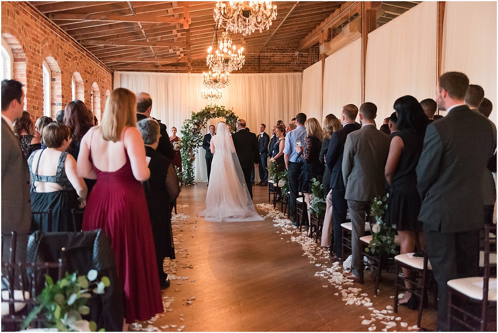 A recent wedding at the Melrose Knitting Mill in downtown Raleigh, NC