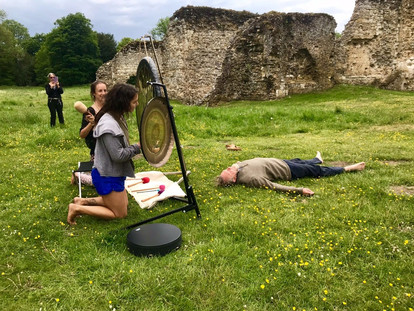 Playing the gongs at Waverley Abbey