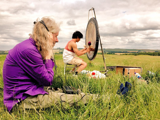 Recording the gong at Avebury