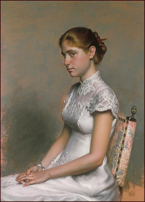 Jessie Chaffee, pastel portrait by Daniel Greene