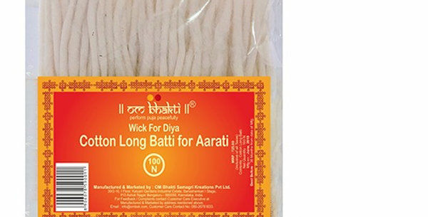"OM Bhakti Wick for Diya - Cotton Long Batti 7"" 100N"