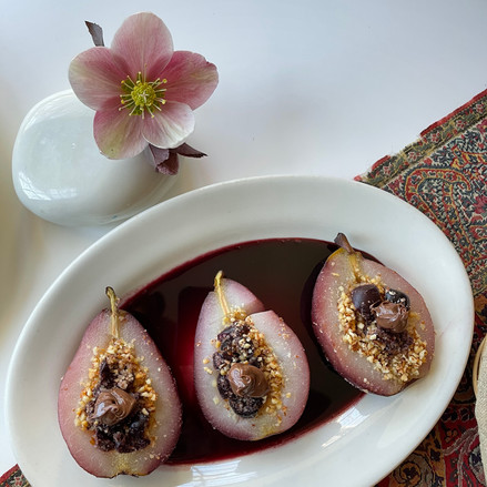 Poached Pears filled with Almonds