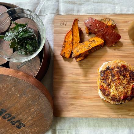 Vegetarian Burger with Labneh Peri Peri Sauce