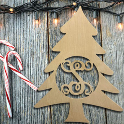Christmas Tree with monogramed letter