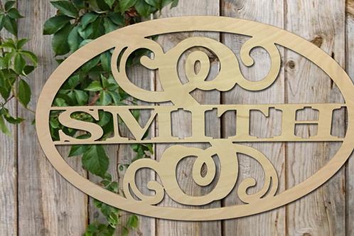Oval Split Letter Family Name