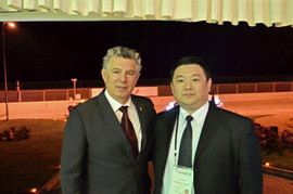 Xiaomu Feng with Joy Bough, Special Adviser to Prince Albert II of Monaco, President of the World Olympic Athletes Association and President of the World Peace and Sports Organization