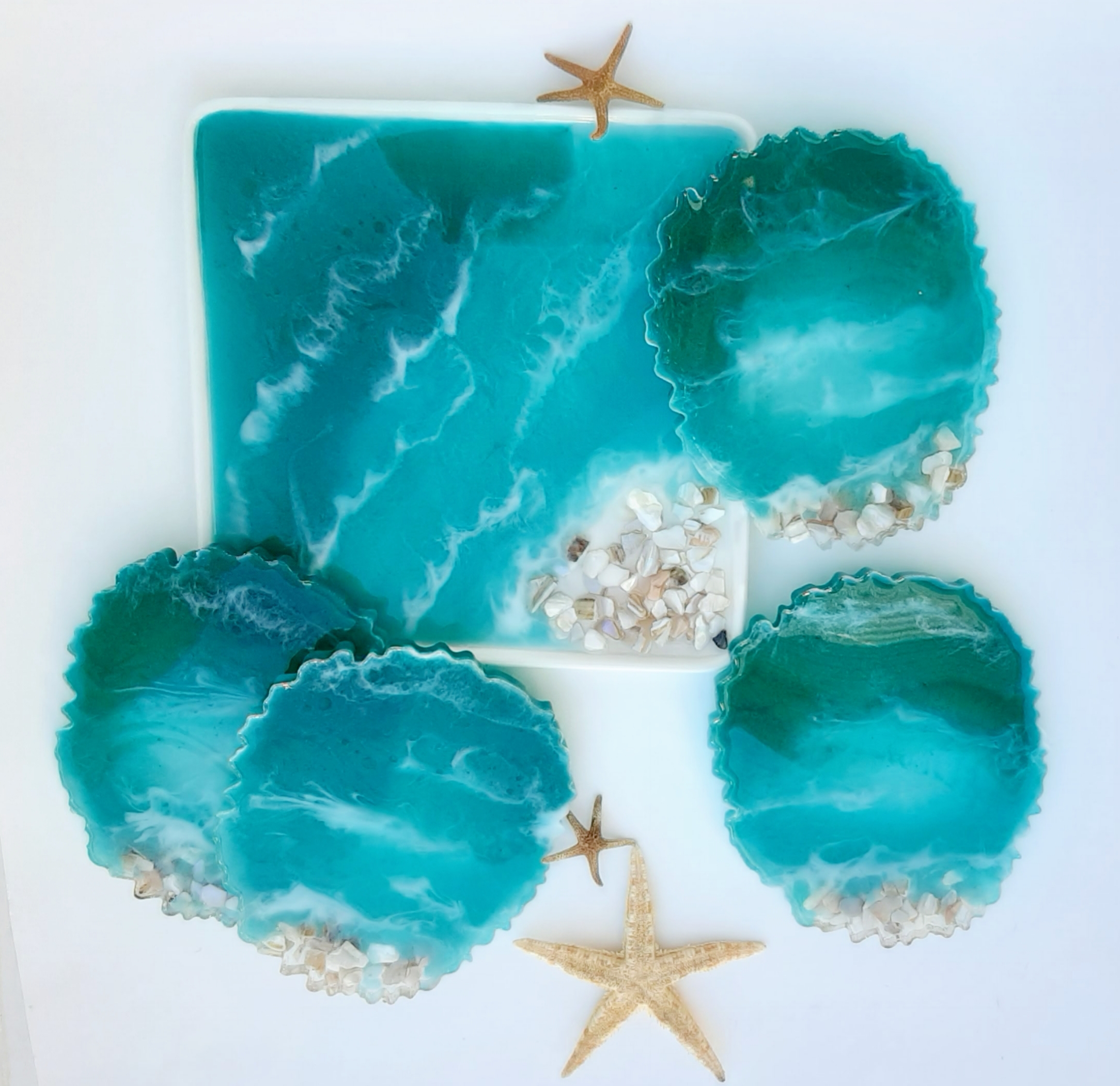 Resin coaster and trinket dish