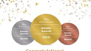 WineSearcher Awards Veblen Wines Ltd, Gold, Bronze & Silver for Wine Retailer