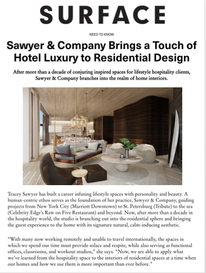 Sawyer & Company Featured in Surface Magazine