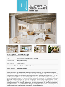 Sawyer & Company Honored to be Selected as LIV Hospitality Design Awards Winner