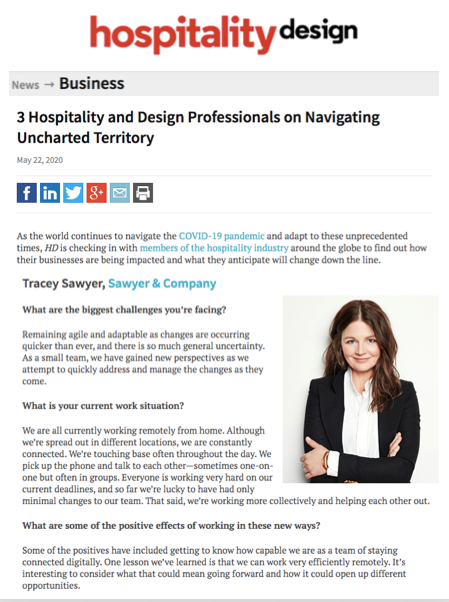 Sawyer & Company Featured in Hospitality Design