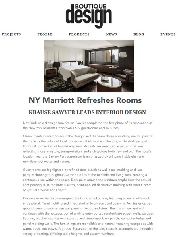 NY Marriott Downtown Featured in Boutique Design