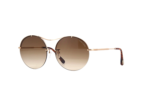 Tom Ford VERONIQUE-02 TF565 28F Gold Shades Round Sunglasses Brown Gradient Lens