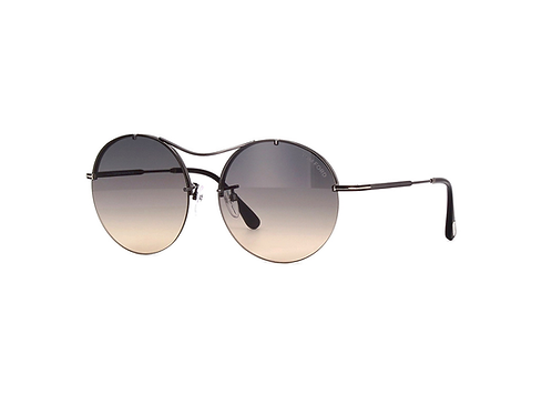 Tom Ford VERONIQUE-02 TF565 08B Gunmetal Round Blue Peach Gradient Sunglasses