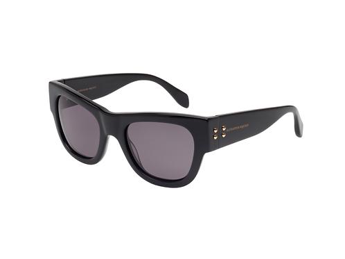 Alexander McQueen AM 0033s 001 Black Sunglasses Sonnenbrille Smoke Lenses