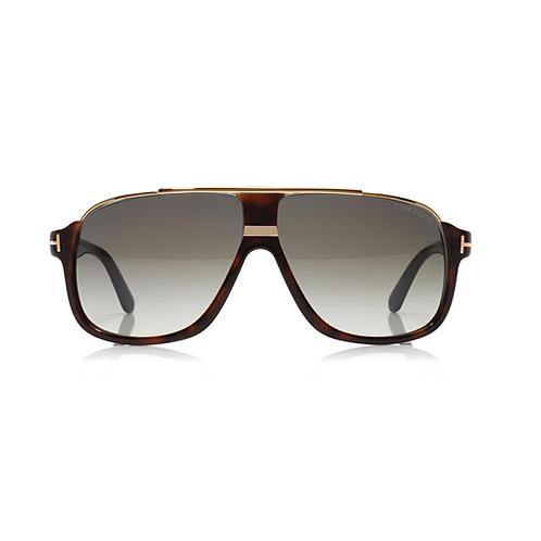 Tom Ford Elliot TF 0335 56K Havana & Gold Sunglasses Green Gradient