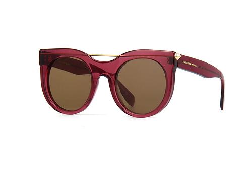 Alexander McQueen AM0001s 002/004 Piercing Bar Grey/Red Sunglasses Green Lenses