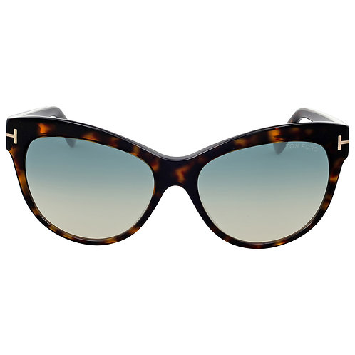 Tom Ford Lily FT 430 52P Havana Sunglasses Blue Gradient Lens Size 56