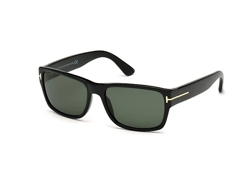 Tom Ford Mason TF445 01N Black Sunglasses Sonnenbrille Green Lens Size 56