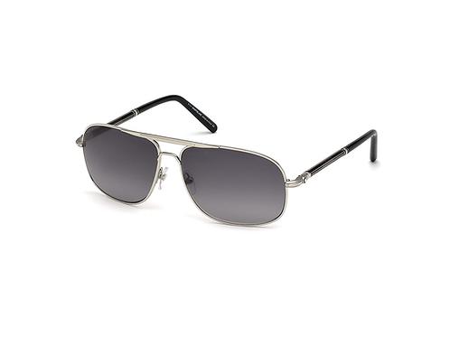 Mont Blanc 513S 16B Shiny Palladium Aviator Sunglasses Gradient Smoke