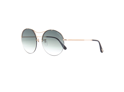 Tom Ford VERONIQUE-02 TF565 28B Gold Round Sunglasses Blue Gradient Mirror Lens