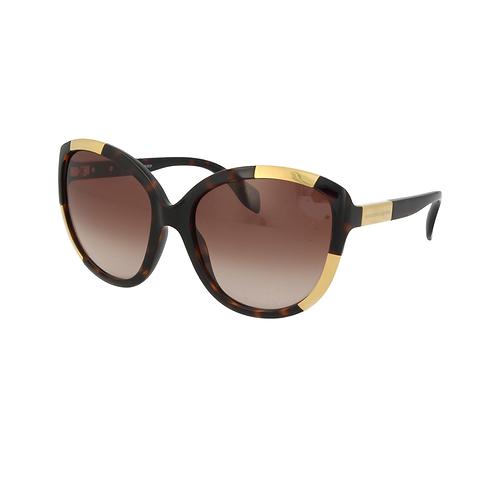 Alexander McQueen AM0006S 002 Havana & Gold Sunglasses Brown Gradient