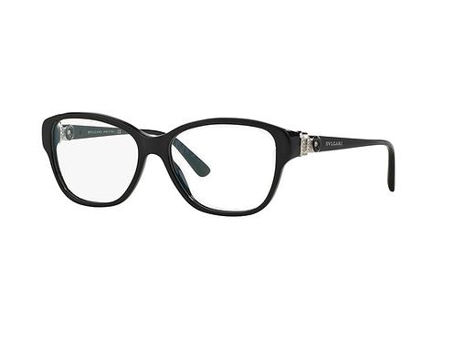 Bvlgari 4089B 501 Black Eyeglasses with Crystal Details