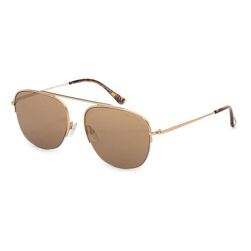 Tom Ford Abott FT 0667 30G Gold Mirror Pilot Sunglasses Sonnenbrille