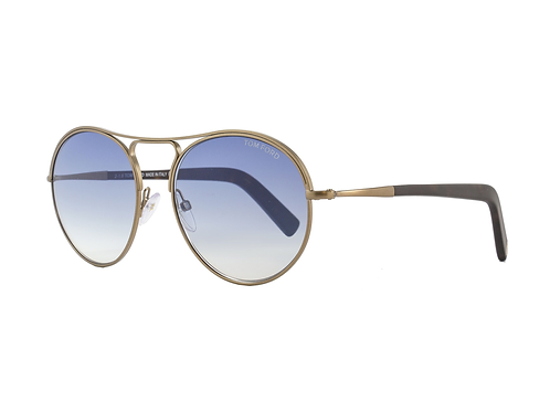 Tom Ford Jessie TF449 449 37W Antique Gold Sunglasses Blue Gradient Lenses 54mm