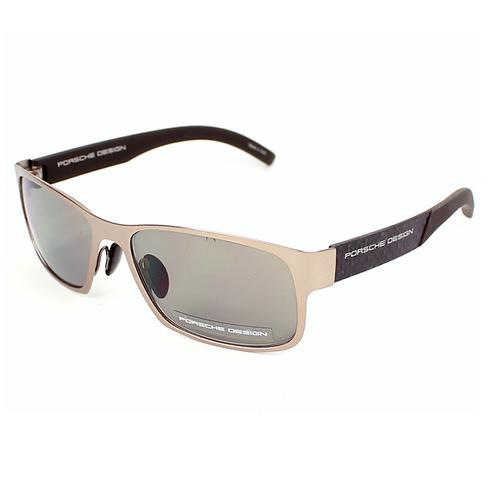 PORSCHE DESIGN P'8550 B Matte Gold / Sand Brown SUNGLASSES Grey Lenses Size 58