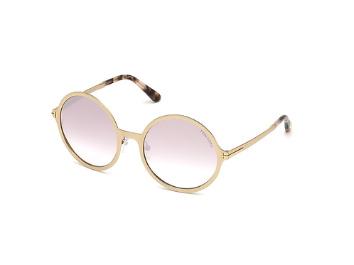 Tom Ford Ava-02 FT0572 28Z Rose Gold Round Pink Mirror Sunglasses Sonnenbrille