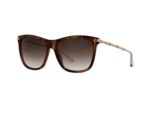Gucci GG 3778s HQXJS Marble Brown Gold Bamboo Sunglasses Brown Gradient Size 51