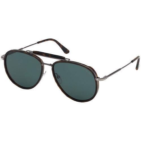 Tom Ford Tripp 0666 52N Dark Havana/ Green Pilot Sunglasses Sonnenbrille