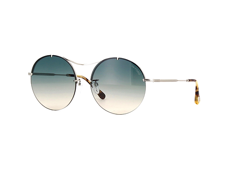 Tom Ford VERONIQUE-02 TF565 18P Shiny Rhodium Green Shades Round Sunglasses