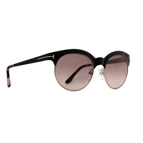 Tom Ford Angela TF 438 01F Black & Rose Gold Sunglasses Brown Gradient