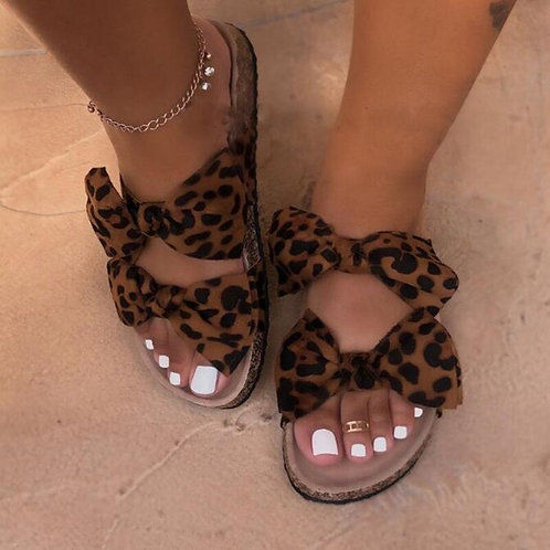 Double Bow Slipper Sandals
