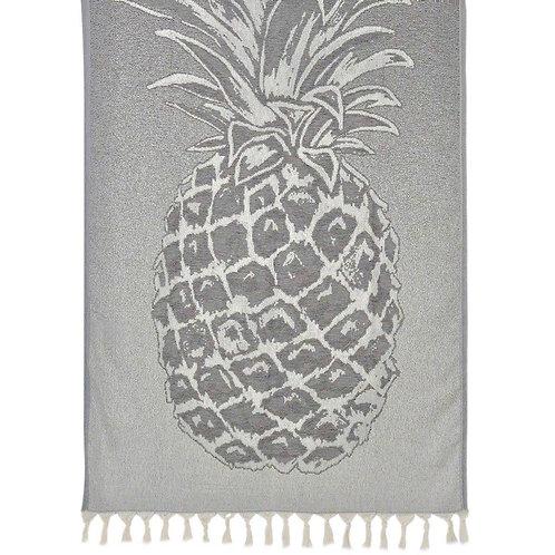 Gray Pineapple Turkish Beach Towel