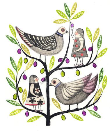 ハトとオリーブの木