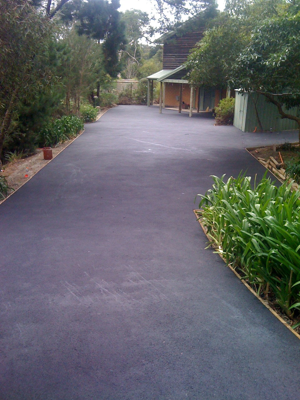 Driveway with timber edging