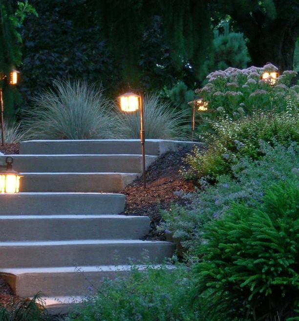 Evening lighting of front entry garden