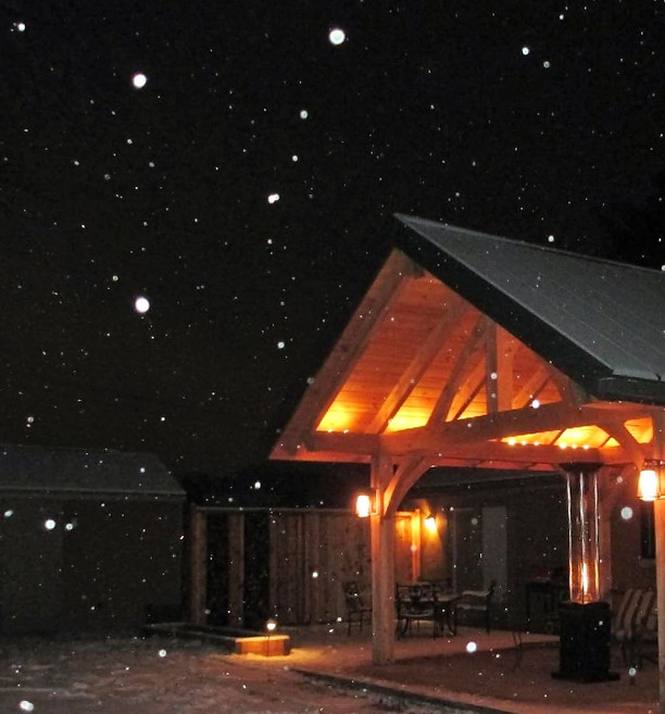 Covered pavilion for outdoor year round entertaining
