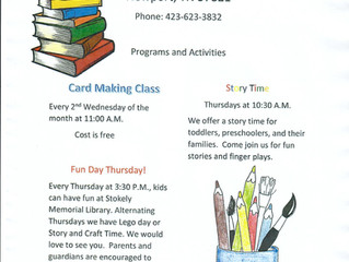 Stokely Memorial Library with wonderful crafts and story time!