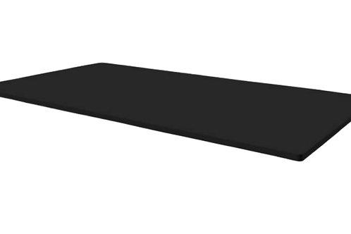 Linoleum bordplade : 180x80 sort - 2 kabelføringer nedfældet i metal