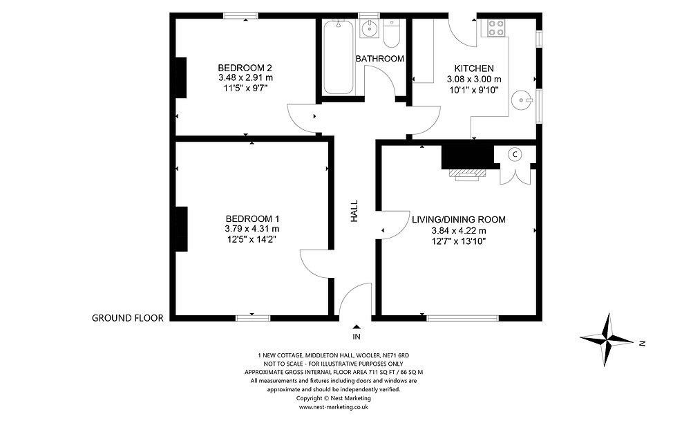 1 New Cottage, Middelton Hall - Floorpla